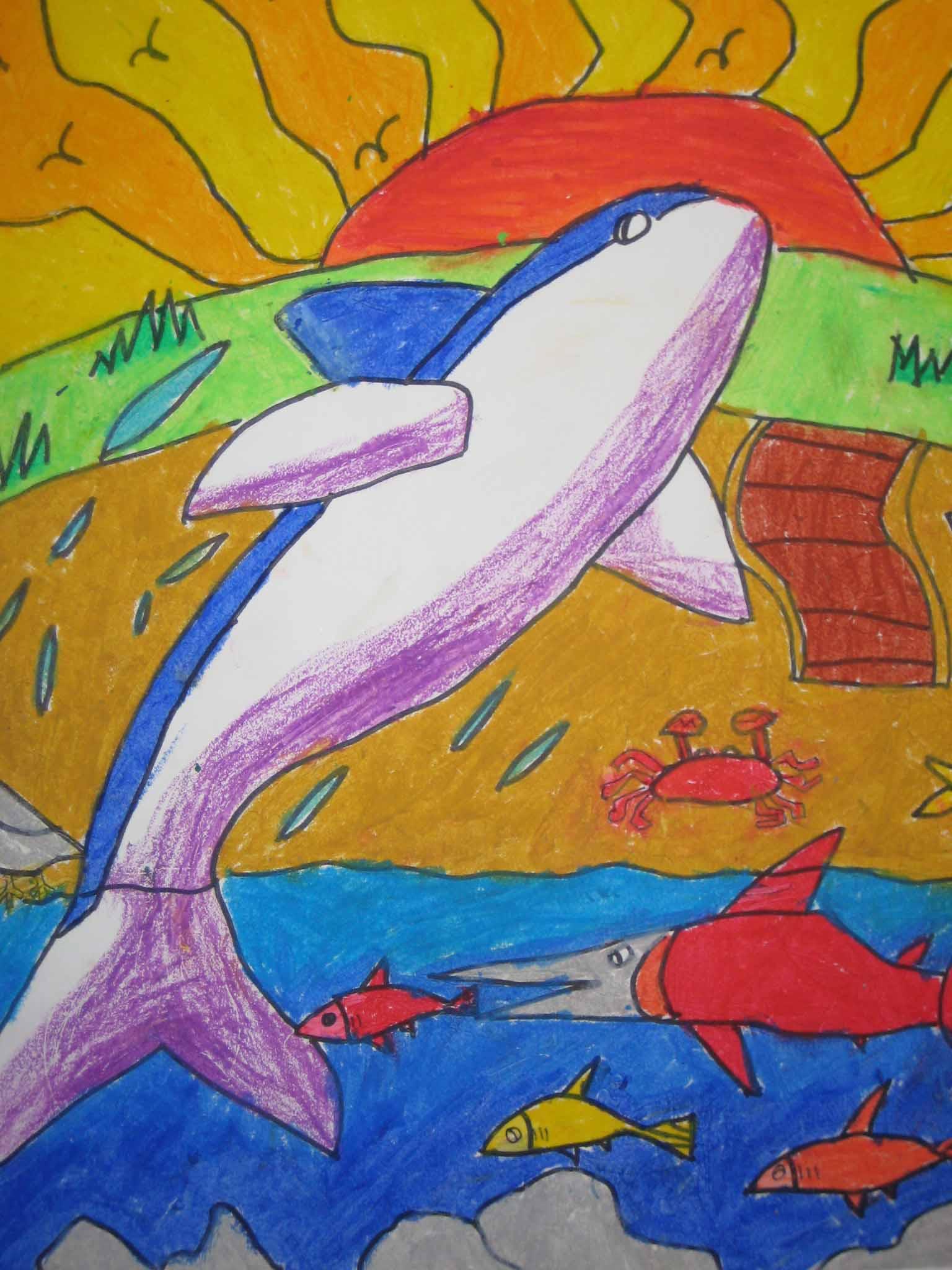 油彩笔画-跃出水面的鲸鱼 - 一张白纸上可以绘出最的