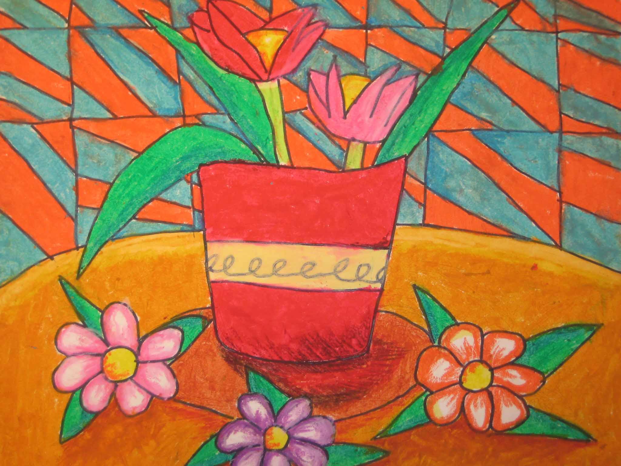 油彩笔画-花 - 一张白纸上可以绘出最美丽的画 - 杭州